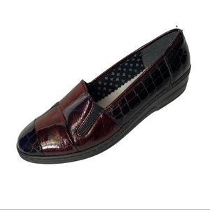 Rieker Vera Burgundy Patchwork Leather Loafers 40